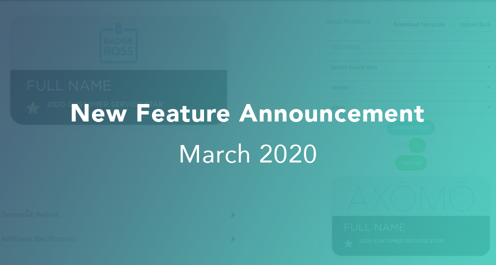 March 2020 AXOMO Updates